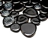 Mosaik-Netzwerk Kiesel uni schwarz glänzend (mit weiß) Keramik Drops Pebbles Fliesenspiegel, Mosaikstein Format: d=5 mm, Bogengröße: 60 x 100 mm, 1 Handmuster ca. 6x10 cm