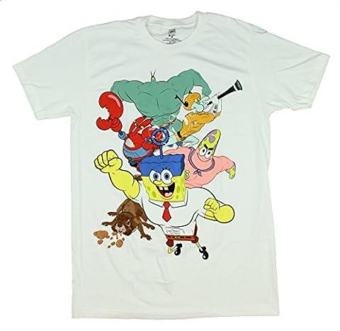 SpongeBob Squarepants - T-Shirt - Manches Courtes - Homme - blanc - Large