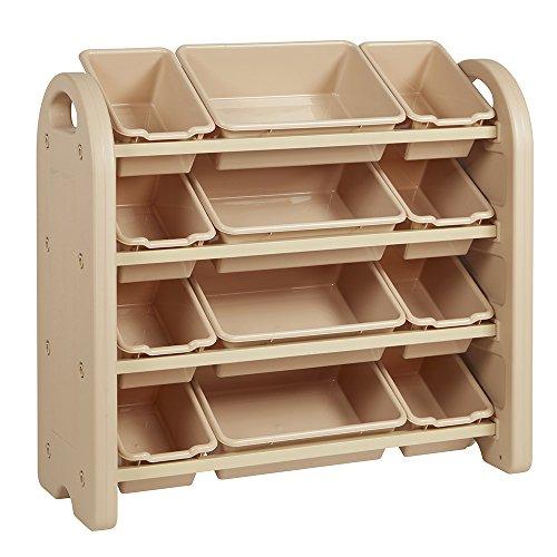 4 Lagerung Cubbies (ECR4Kids Spielzeug Lagerung Organizer mit 12Mülleimer, 4-Tier, Sand with Sand Bins, 1)