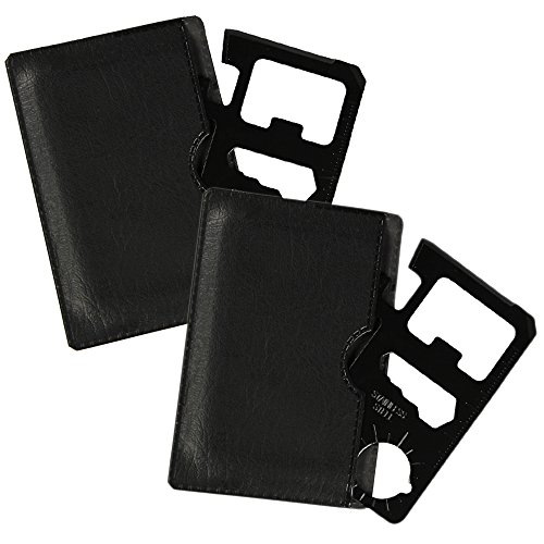 com-four® Multifunktions Werkzeug im Scheckkartenformat 13-in-1 Funktions-Karten-Messer Edelstahl Schwarz mit Leder Etui (2 Stück) (01 Stück - Tool V1 schwarz)