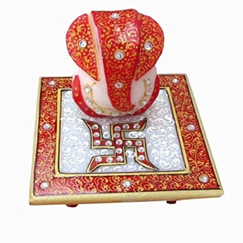 ANSHUL FASHION Marble Chowki Ganesh with Peacock Design, Small Solid Marble Modern Ganash Statue Engraved with Stones Hindu Religious Gifts Indian Décor a Perfect Idea for House Warming Gift , Ganpati Ganesh Idol Great Size for Small Home Office Desk , Hindu Indian Elephant God Figurine Statue Sculpture , Statue of Lord Ganesha Mosaic Statue with Marble Choki , Valuable Collection, Modern Finish Statue  available at amazon for Rs.180