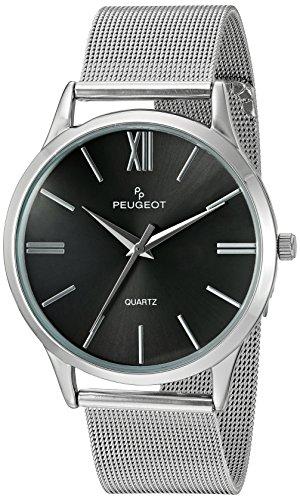 peugeot-mens-mesh-roman-numeral-quartz-stainless-steel-dress-watch-colorsilver-toned-model-1052sbk