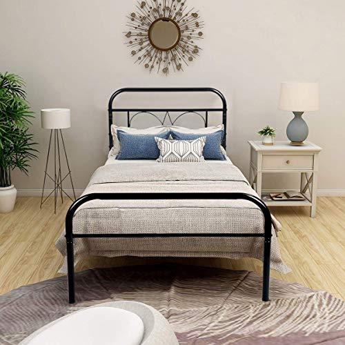 Aingoo Cama de Metal Dormitorio habitación Cama Individual, Estilo Minimalista para Adultos y niños, Negro, 90_x_190_cm