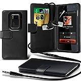 ( Black ) Nokia N900 Portefeuille en cuir Flip Cover Skin Case avec d'écran LCD Garde & Aluminium In-Ear intra stéréo mains Casque écouteurs Casque gratuit avec le microphone intégré Mic & touche ON-OFF By i-Tronixs