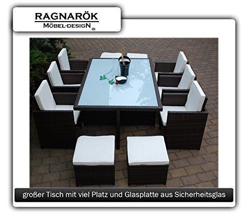 Gartenmöbel PolyRattan Essgruppe Tisch mit 6 Stühlen & 4 Hocker - 2