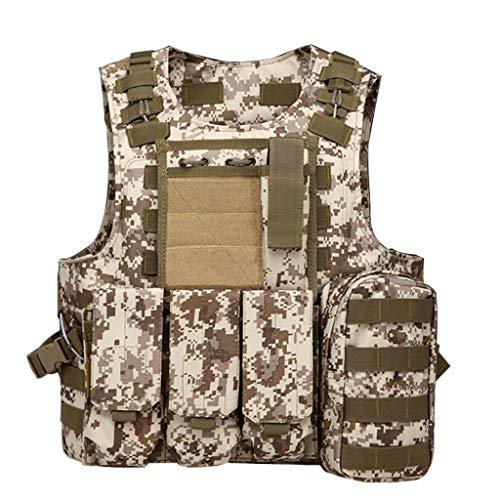 Gilet Tactique, équipement de Plein air Desert Camouflage Army Fan Combat Vest Body Armor Vest avec Accessoires système Molle