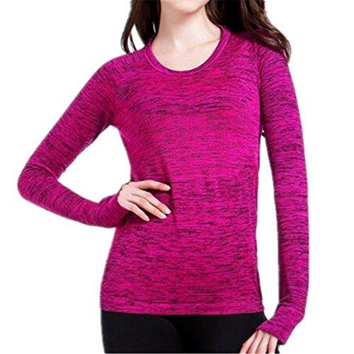 AILIENT Donna Elegante Maglietta Maglie Girocollo Manica Lunga Maniche Maglia Camicie Slim T Shirt Elastico Blouse Eleganti Tops Rose Red