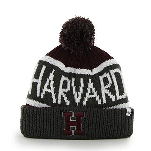 Harvard Crimson Gray Cuff Calgary Beanie Hat with Pom - NCAA Cuffed Winter Knit Toque (Crimson Knit Beanie)