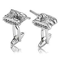 Adisaer Stainless Steel Cufflinks for Men Polished Tank Shape Silver Unique Business Wedding Cufflink