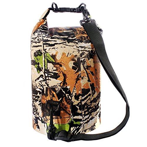 Sacco Dry Bag Borse Impermeabile, Dry Bag Galleggiante può Essere Usato per la Navigazione, Trekking, Kayak, Canoa, Pesca, Rafting, Nuoto, Campeggio, Sci e Snowboard con Omaggio Gratuito di Una Custodia Telefono Impermeabile Universale (Camuffamento 1, 20L)