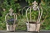 Blumentopf, Pflanztopf, Rankhilfe 2er-Set in Form einer Krone, Höhe ca. 30 cm und 40 cm