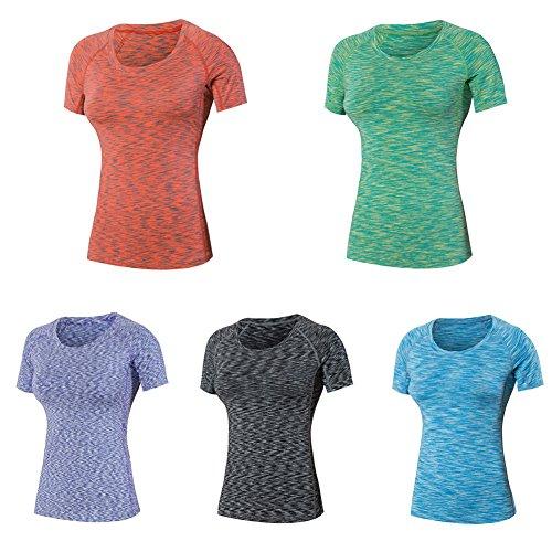 ESHOO Femme Climate T-Shirt Manches Courtes Sport Respirant Séchage Rapide Vert