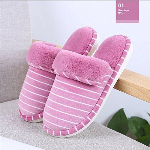 pelliccia Femminili Gli Foderata Da Modelli Slip Pantofole Caldo Inverno Laxba Uomini Per Scarpe On Viola Eco Neve I gHqxX