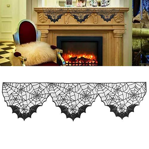 BESTOYARD Halloween Dekoration Black Lace Spiderweb Bat Spitze Spiderweb Kamin Mantel Schal Abdeckung Spiderweb Dekoration für Halloween Party Wohnzimmer Kamin Dekor