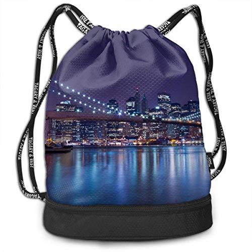 New York City Manhattan Skyline with Full Moon Drawstring Backpack Sports Gym Cinch Sack Bag for Gym