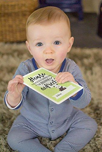 Baby Milestone Cards DEUTSCH - Meilenstein karten - 40 unisex Fotokarten - Geschenkset – Babyparty - Erstes Lebensjahr - 7