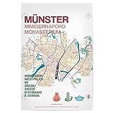 artboxONE Poster 60x40 cm Städte Stadtmotiv Münster Karte