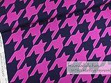 Mamasliebchen Jersey-Stoff BATkick #darkblue-neon pink (0,5 m) Hahnentritt Meterware