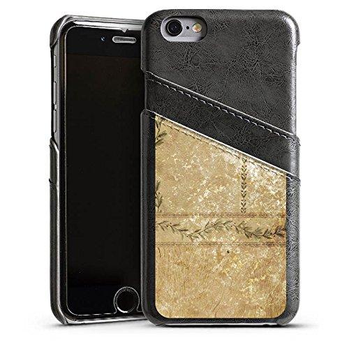 Apple iPhone 4 Housse Étui Silicone Coque Protection Vintage Rétro Collection Mur Feuilles Étui en cuir gris