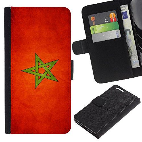 """Graphic4You Vintage Uralt Flagge Von Iran Iraner Design Brieftasche Leder Hülle Case Schutzhülle für Apple iPhone 6 Plus / 6S Plus (5.5"""") Marokko Marokkanisch"""