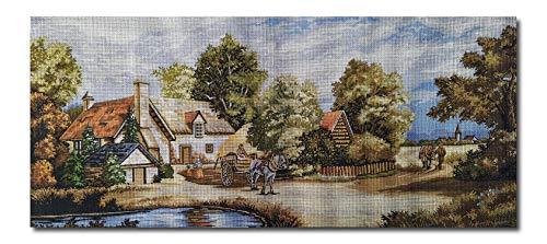 Hudemas Gobelin Stickbild Stickpackung Der Bauernhof halber Kreuzstich 73x32cm inkl Sticktwist cod.223 -