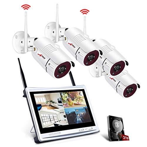 All-in-1 WLAN Überwachungskamera Set mit 12 Zoll LCD Monitor, ANRAN 4ch 1080p WiFi Überwachung DVR Kits mit 4PCS 2.0MP CCTV IP Kameras 1TB Festplatte Innen und Außen Remote Access Motion Detection -