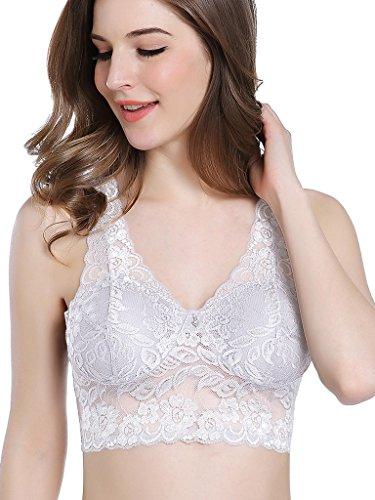 Intimate Portal Spitze Komplette Bedeckung Bügelloser Freizeit-BH ohne Bügel mit Taschen Weiß DE 85B 85C (Etikett 3L) -