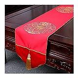 JUNYZZQ Tischläufer Rot Bestickt Tisch Bunting Chinesische Hochzeit Festliche Seide Chinesischen Stil Tee Mat Chinesische Redwood Klassische Couchtisch 30X240 cm