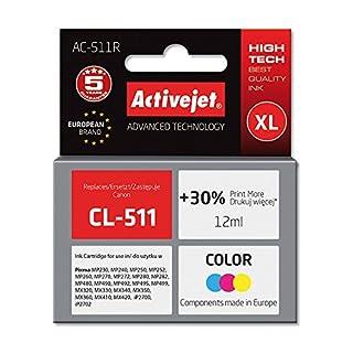ActiveJet EXPACJACA0104 Tinte AC-511R Refill für Canon CL-511, farbig