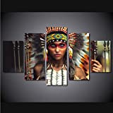 Zxdcd Leinwand Kunst Hd Gedruckt Malerei Modulare Mädchen Bilder Home Decor Foto 5 Panels Indische Figur Frauen Poster Wandkunst-40X60Cmx2 40X80Cmx2 40X100Cm