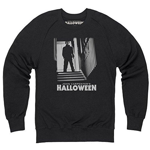 Official Halloween Sweatshirt mit Rundhals Michael Myers Stairs, Herren, Schwarz, - Michael 1978 Halloween Myers
