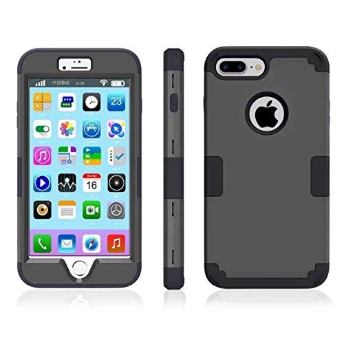 iPhone 7 plus hülle, Lantier 3 in 1 [weicher harter Tough Case] [Anti Scratch] [Stoßdämpfung ] Leichte Schlank Voll Body Armor Schutzhülle für iPhone 7 Plus (5,5 Zoll) Mint Green + Grau Black