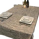 Lin Coton Nappes Rectangulaires Anti Taches Rétro Journal Nappe Table À Manger pour Salon Salle À Manger Studio Restaurant Table À Café Couverture,140 * 250Cm