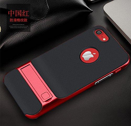 BCIT iPhone 7 Plus Hülle - Hybrid kratzfeste stoßdämpfende TPU +PC Bumper Frame Dual Layer Tasche Schutzhülle mit Ständer für iPhone 7 Plus - Grau Rot