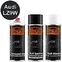 TRISTARcolor Autolack Spraydosen Set für Kunststoff Stoßstange für Audi LZ9W Ebonyschwarz Perl Haftgrund Basislack Klarlack mit Weichmacher Sprühdose