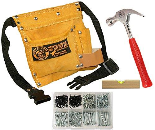 Kinder-Werkzeug-Set mit Werkzeug-Gürtel, Hammer, Nägel und Wasserwaage Corvus Kids at Work