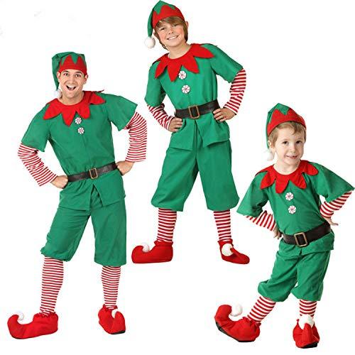 semen Weihnachten Kostüm 4er Pack Weihnachtself Familien Set -