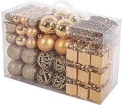 Idea Regalo - Brubaker Set di 101 Accessori Decorativi per L'Albero di Natale - addobbi Natalizie in Color Champagne - Diverse Forme di Palline ed Un Puntale per Albero di Natale