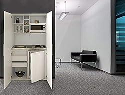 Respekta Single White Front Office Pantry Mini Kitchen Unit White