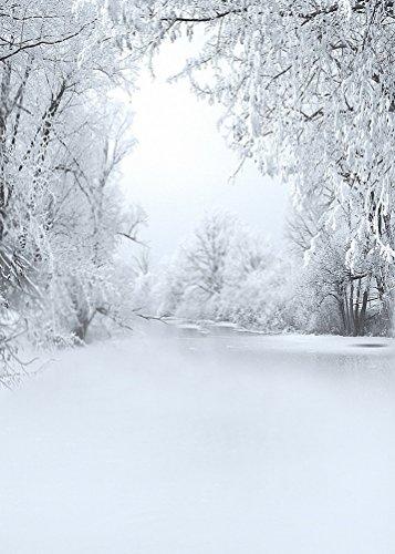 A.Monamour Wintersaison Weißen Schnee Baum Raureif Weiß Land der Naturlandschaft Studio Requisiten 5X7Ft Vinyl Fotografie Kulissen (Schnee Baum-rock)