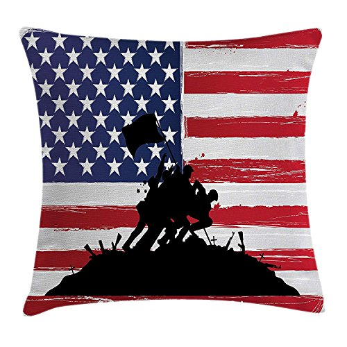 fjfjfdjk Bless America Silhouettes of American USA Flag Background Valor Patriot ThemeAmerican Throw Pillow Cushion Cover Decorative Square Accent Pillow Case 18 X 18 Inches Black and Red