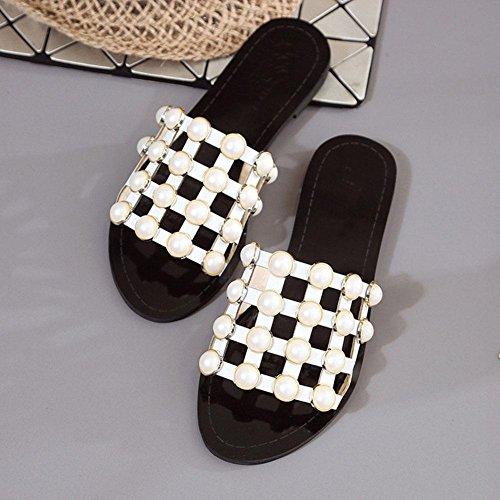 Damenmode Perle Gelee Pantoffeln weiblichen Sommer Strand beiläufige flache Sandalen White