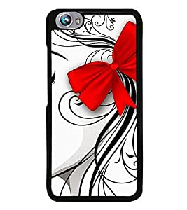 Girl Sketch with Hair Bow 2D Hard Polycarbonate Designer Back Case Cover for Micromax Canvas Fire 4 A107