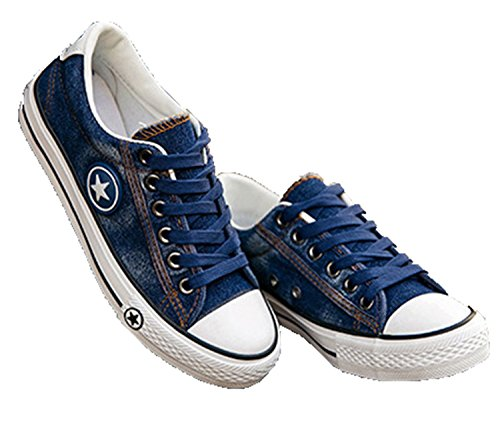 2fd94e0f330fb Fashion Women Sneakers Denim Casual Shoes Female Summer Canvas Shoes  Trainers Lace Up Ladies Basket Femme Stars Tenis Feminino Navy Blue 6