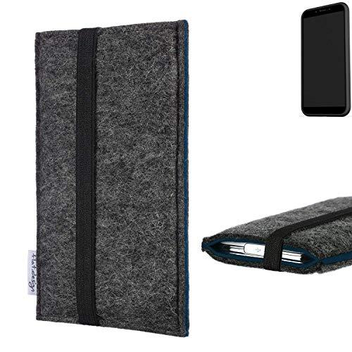 flat.design Handyhülle Lagoa für Shift Shift6mq   Farbe: anthrazit/blau   Smartphone-Tasche aus Filz   Handy Schutzhülle  Handytasche Made in Germany