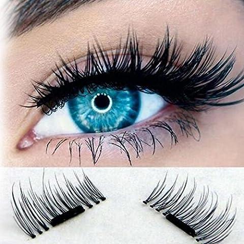 3D Faux Cils Magnétique , LMMVP Faux Cils Mélange Magnétique Ultra-mince 0.2mm Magnétique Eye Lashes 3D Réutilisable Faux Aimant Cils (noir)