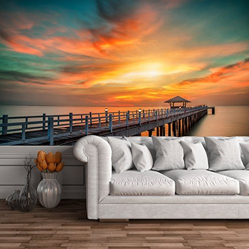Sfondo parete di legno Pier Sunset & Ocean Bangkok Paesaggio Viaggi Foto disponibile in 8 taglie Extra-Small Digitale