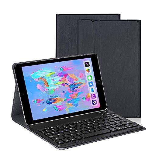 Aspecto cepillado Teclado Estuche iPad 9.7' (iPad 6.a generación) 2018/2017 [QWERTY], Slim Stand Funda con Removible Teclado para Apple iPad 9.7 2018/ 2017/ Air 2/ Air, Negro