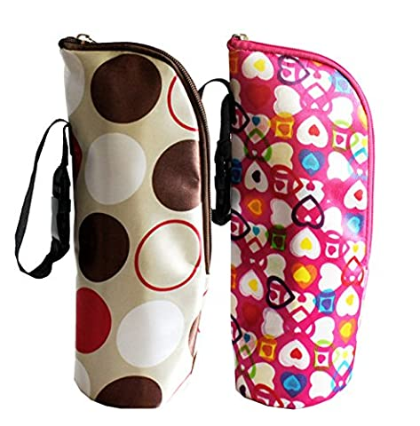 iSuperb® Pack 2 Biberon Sac fourre-tout Cooler Nursing bouteille sac isotherme chaud et froid pour Poussette et Sac à couches 8x8x24CM (Heart and Colorful Round)