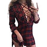 VENMO Women reizvolle Art Dress Plaid V Neck Bandage Pullover Long Sleeve Split Mini Dress A-Line Kleid Strickkleider Sweater Elegant Rollkragen Langarm Strickpulli Sweatshirt Kleider (Red, S)